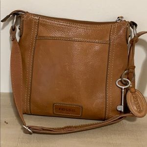 Fossil Chestnut Crossbody Leather Purse Key Tag